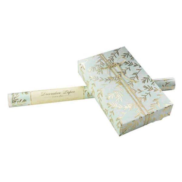ROSSI Presentpapper Firs Folierat och präglat lyxigt inslagningspapper
