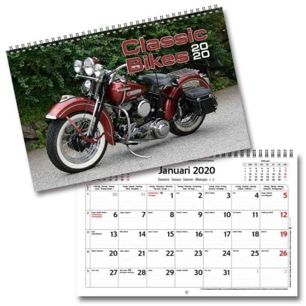 Väggkalender Classic Bikes 2020 med tolv klassiska motorcyklar. Kalenderspecialisten