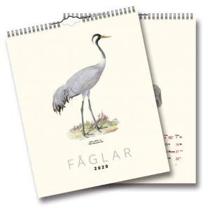 Väggkalender Fåglar 2020 en vacker väggalmanacka med illustrationer från sekelskiftet av von Wright. Kalenderspecialisten