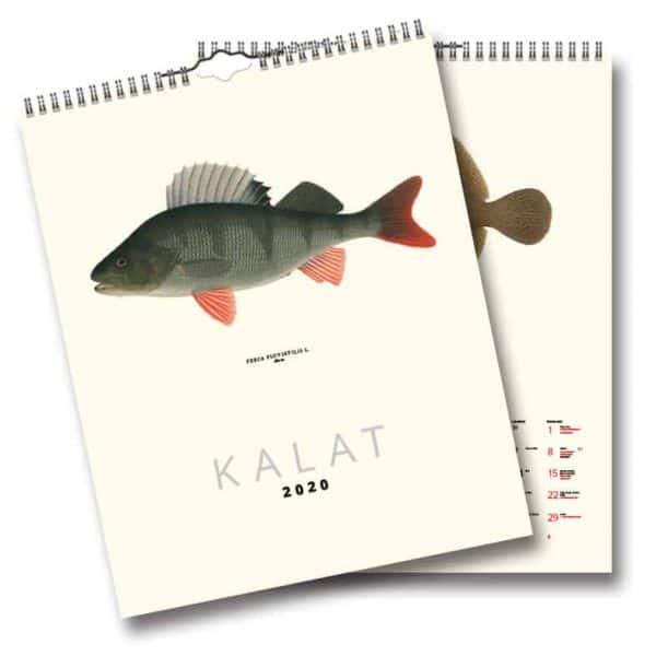 Väggkalender Fiskar 2020 FINSK är en vacker och snygg väggalmanacka med illustrationer av Gösta Sundman Kalenderspecialisten