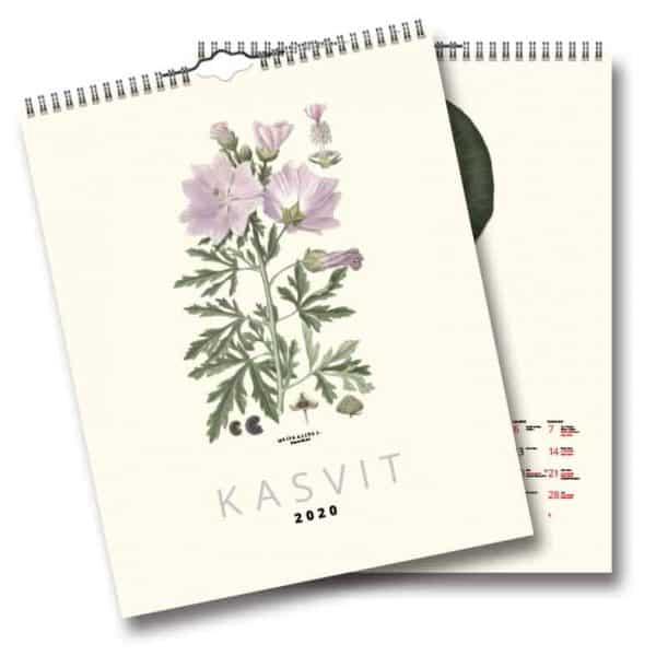 Väggkalender Växter 2020 FINSK Finsk väggalmanacka med illustrationer av von Wright Kalenderspecialisten