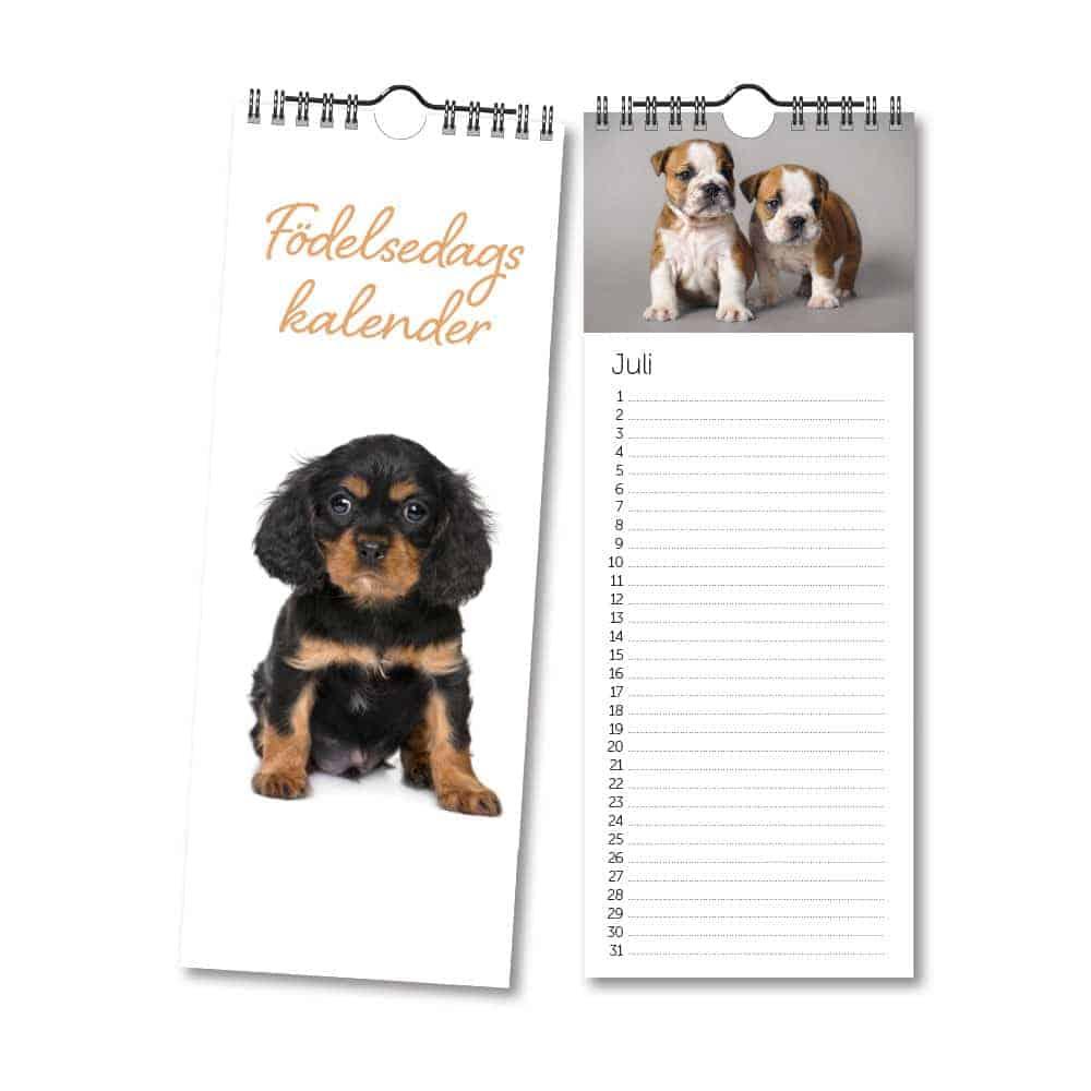 Födelsedagskalender med söta Hundar Kalenderspecialisten
