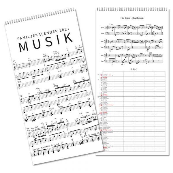 Familjekalender Musik 2021 fem kolumner för planering Kalenderspecialisten