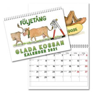 Väggkalender Glada Kossan 2021 med roliga illustrationer av Elisabeth Ingvarsson Kalenderspecialisten