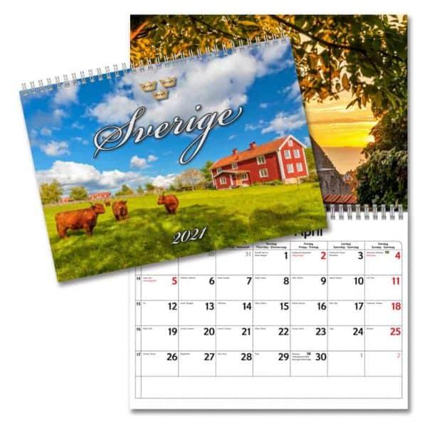 Väggkalender Sverige 2021 med vackra bilder från Sverige. Kalenderspecialisten