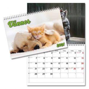 Väggkalender Vänner 2021 med söta bilder på djur som är bästa vänner. Hundar Katter Kaniner Kycklingar. Kalenderspecialisten.