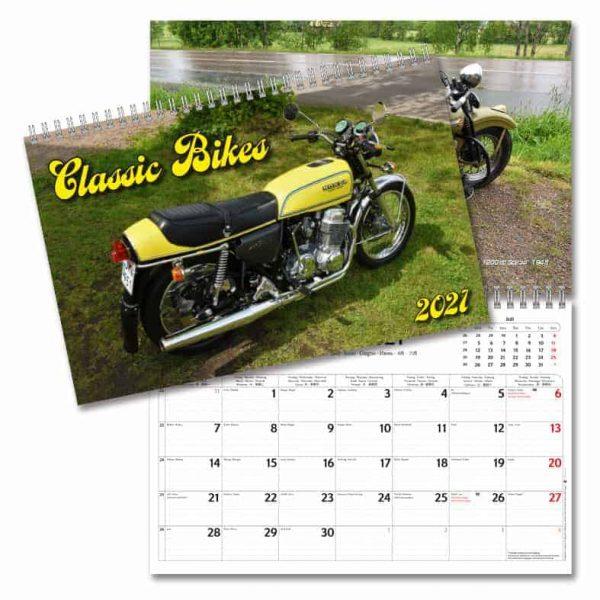 Väggkalender Classic Bikes 2021 med bilder på klassiska motorcyklar Kalenderspecialisten