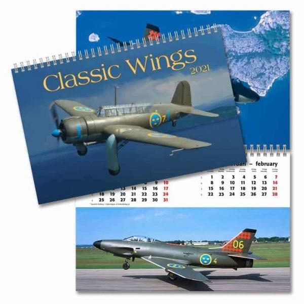 Väggkalender Classic Wings 2021 med bilder på militärflygplan fotade av Anders Nylén Kalenderspecialisten