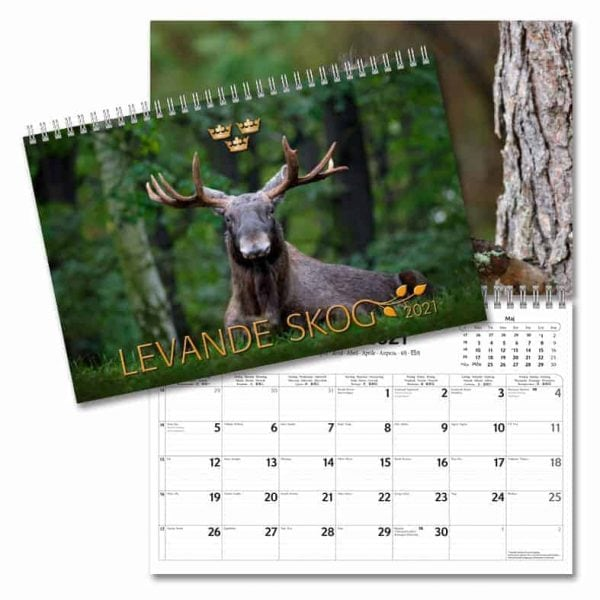 Väggkalender Levande Skog 2021 med bilder på svenska djur i sin naturliga miljö Kalenderspecialisten