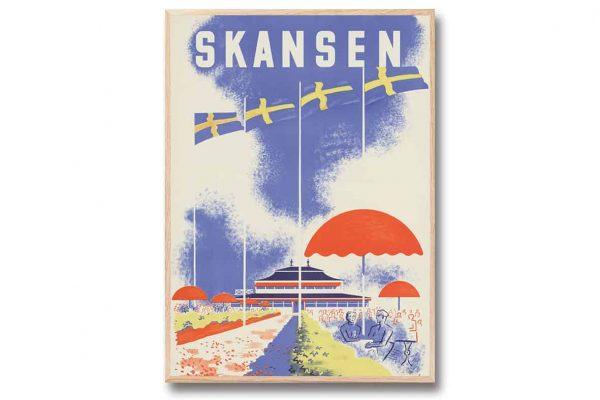 Poster Skansen 30x40 cm Retroposter Skansen på kungliga Djurgården Come to Sweden Kalenderspecialisten