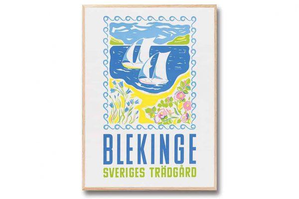Poster Blekinge 30x40 cm Blekinge Sveriges Trädgård retroposter Come to Sweden Kalenderspecialisten