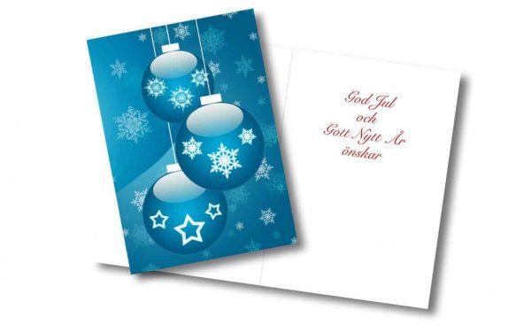 Julkort Julkulor blå Gullers Trading