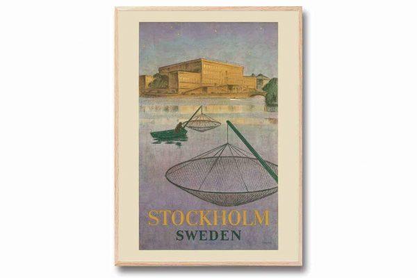 Poster Fiskare Stockholms ström 30×40 cm Yngve Berg Kalenderspecialisten
