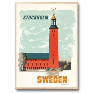 Stadshuset Stockholm Kauffer 30x40 cm gjord av Edward McKnight Kauffer Kalenderspecialisten