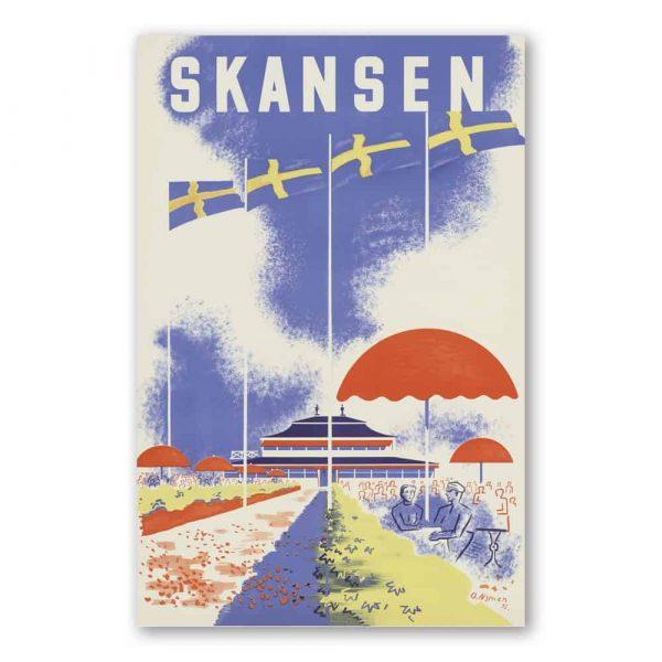Vykort Skansen Flaggor Kalenderspecialisten