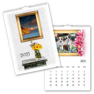 Fotokalender A4 Guldram Blomma hos kalenderspecialisten