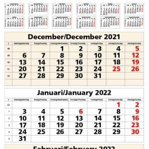 Väggkalender 3-plan 2022 kalendarium