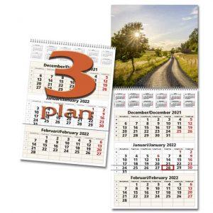 Väggkalender 3-plan 2022 hos kalenderspecialisten