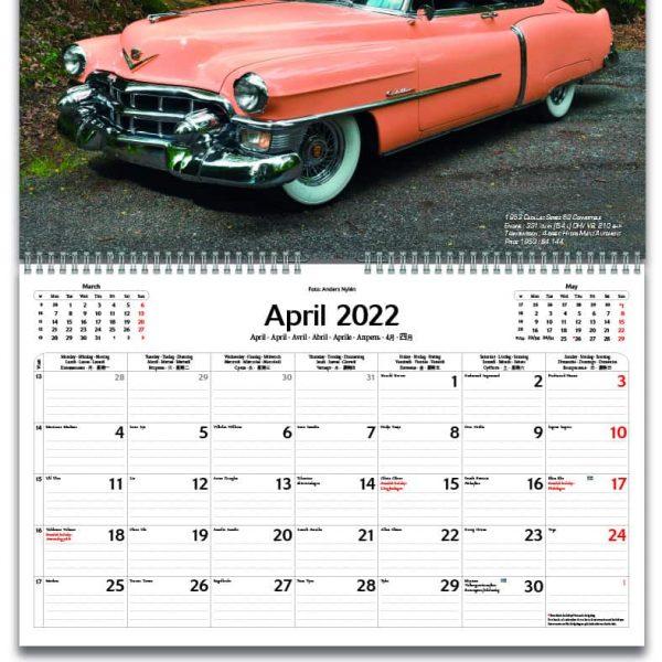 Väggkalender Classic Cars 2022 kalendarium