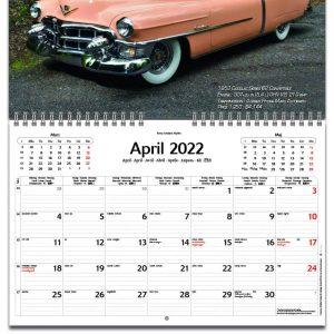 Väggkalender Classic Cars liten 2022 kalendarium
