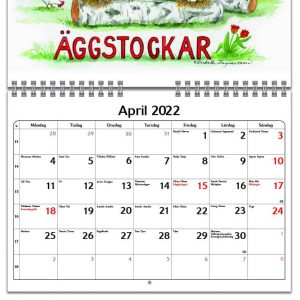 Väggkalender Glada Kossan 2022 kalendarium