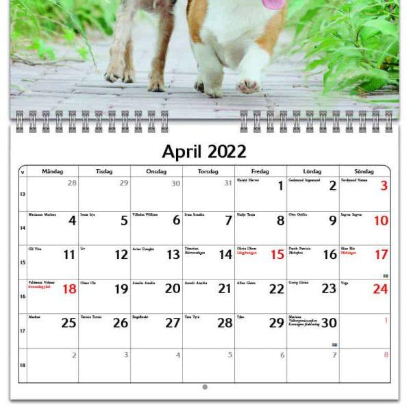 Väggkalender Hundar Small 2022 kalendarium