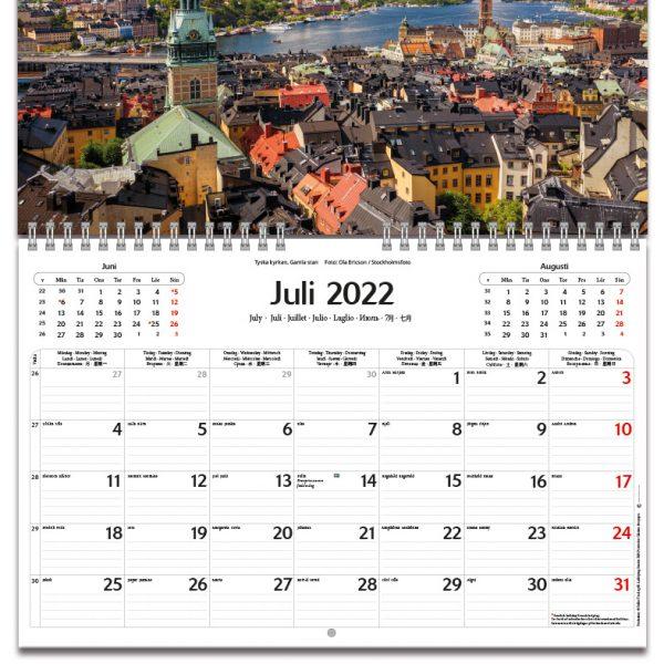 Väggkalender Stockholm 2022 kalendarium