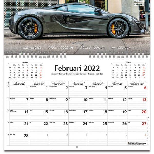 Väggkalender Supercars 2022 kalendarium
