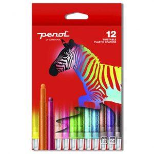 Skruvkritor 12 färger Penol hos Kalenderspecialisten