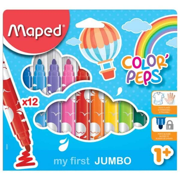 Tuschpennor barn Jumbo 12 färger hos Kalenderspecialisten